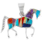 Sterling Silver Horse Pendant Multi Gemstone P3048-C01