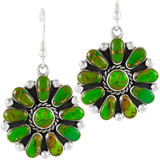 Sterling Silver Flower Earrings Green Turquoise E1112-C76