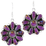Sterling Silver Flower Earrings Purple Turquoise E1112-C77