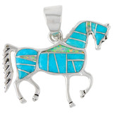 Sterling Silver Horse Pendant Turquoise P3048-C21