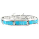 Turquoise Link Bracelet Sterling Silver B5520-C05