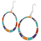 Sterling Silver Earrings Multi Gemstone E1187-C01