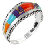 Multi Gemstone Ring Sterling Silver R2285-C01