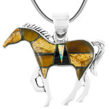 Horse Jewelry Pendant Sterling Silver Multi Gemstone P3049-SM-C34
