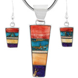Sterling Silver Pendant & Earrings Set Multi Gemstone PE4012-C01
