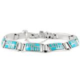 Turquoise Link Bracelet Sterling Silver B5522-C05