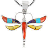 Sterling Silver Dragonfly Pendant Multi Gemstone P3138-C00