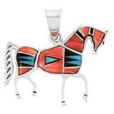 Sterling Silver Horse Pendant Multi Gemstone P3048-C03