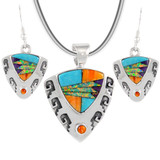 Sterling Silver Pendant & Earrings Set Multi Gemstone PE4042-C01