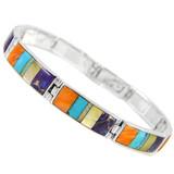 Multi Gemstone Link Bracelet Sterling Silver B5518-C01