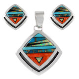 Sterling Silver Pendant & Earrings Set Multi Gemstones PE4015-C00