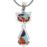 Sterling Silver Fox Pendant Multi Gemstones P3150-C01