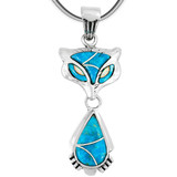 Sterling Silver Fox Pendant Turquoise P3150-C05