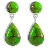 Sterling Silver Earrings Green Turquoise E1205-C76