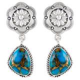 Sterling Silver Earrings Matrix Turquoise E1220-C84