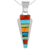 Sterling Silver Pendant Multi Gemstone P3090-C01