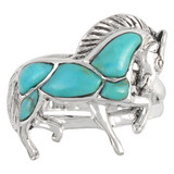 Horse Ring Sterling Silver Turquoise R2395-C75