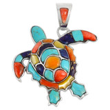 Sterling Silver Turtle Pendant Multi Gemstone P3180-C01