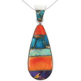 Sterling Silver Pendant Multi Gemstone P3039-C00
