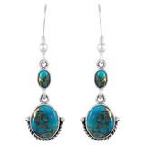 Sterling Silver Earrings Matrix Turquoise E1218-C84