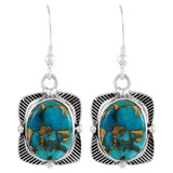 Sterling Silver Earrings Matrix Turquoise E1235-C84