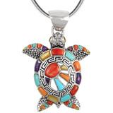 Sterling Silver Turtle Pendant Multi Gemstone P3183-C01