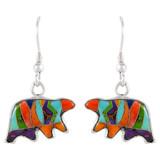 Sterling Silver Bear Earrings Multi Gemstones E1234-C00