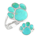Paw Ring Sterling Silver Turquoise R2405-C75