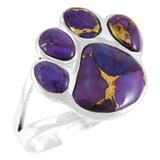 Paw Ring Sterling Silver Purple Turquoise R2405-C77