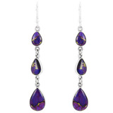 Sterling Silver Chandelier Earrings Purple Turquoise E1241-C77