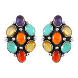 Sterling Silver Earrings Multi Gemstones E1242-C71