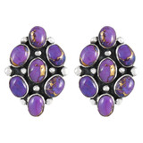 Sterling Silver Earrings Purple Turquoise E1242-C77