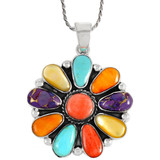 Sterling Silver Flower Pendant Multi Gemstone P3193-C71