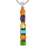 Sterling Silver Pendant Multi Gemstone P3140-C72