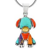Sterling Silver Puppy Dog Pendant Multi Gemstones P3246-C01