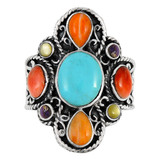 Multi Gemstone Ring Sterling Silver R2416-C71