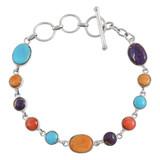 Multi Gemstone Link Bracelet Sterling Silver B5558-C71