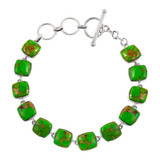 Green Turquoise Link Bracelet Sterling Silver B5561-C76