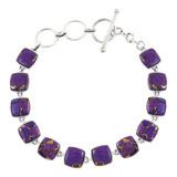 Purple Turquoise Link Bracelet Sterling Silver B5561-C77