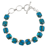 Matrix Turquoise Link Bracelet Sterling Silver B5561-C84
