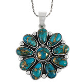 Sterling Silver Flower Pendant Matrix Turquoise P3193-C84