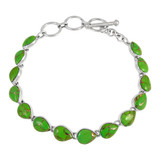 Green Turquoise Link Bracelet Sterling Silver B5565-C76