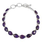 Purple Turquoise Link Bracelet Sterling Silver B5565-C77