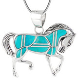 Sterling Silver Horse Pendant Turquoise P3125-C05