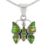 Sterling Silver Butterfly Pendant Green Turquoise P3111-C06