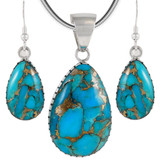 Sterling Silver Pendant & Earrings Set Matrix Turquoise PE4056-C84