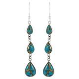Sterling Silver Chandelier Earrings Matrix Turquoise E1241-C84
