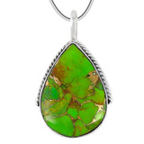 Green Turquoise Pendant Sterling Silver P3075-C76