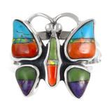Butterfly Ring Sterling Silver Multi Gemstone R2037-C01