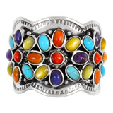 Multi Gemstone Ring Sterling Silver R2433-C71